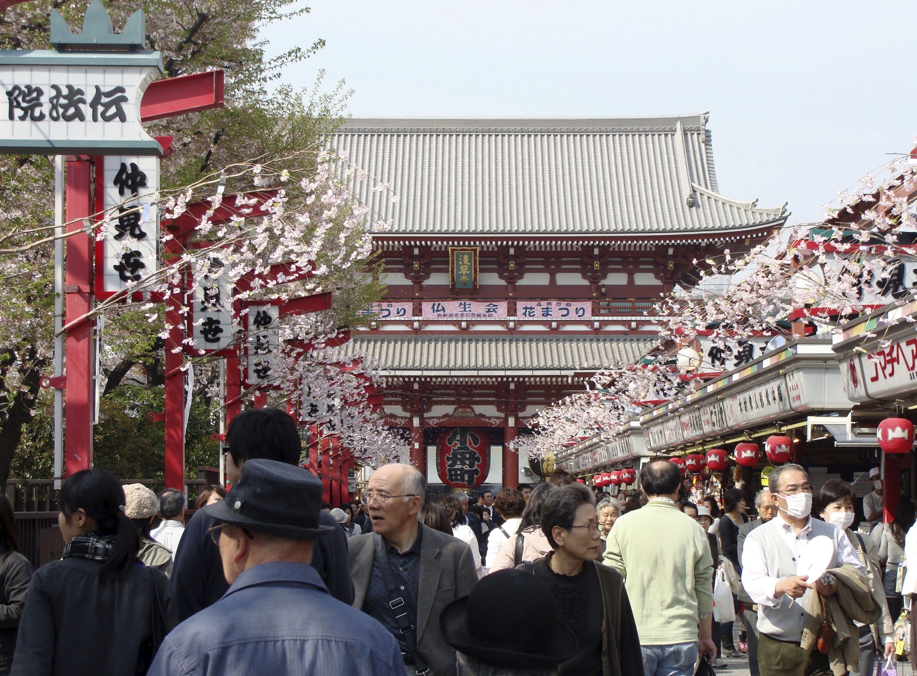 View of Senso-ji temple along Nakamise dori, Asakusa