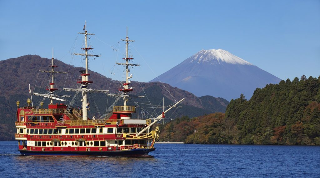 Hop aboard a sightseeing cruise on Lake Ashinoko in Hakone.