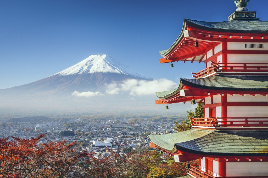Mt. Fuji, Japan viewed from Chureito Pagoda in the autumn