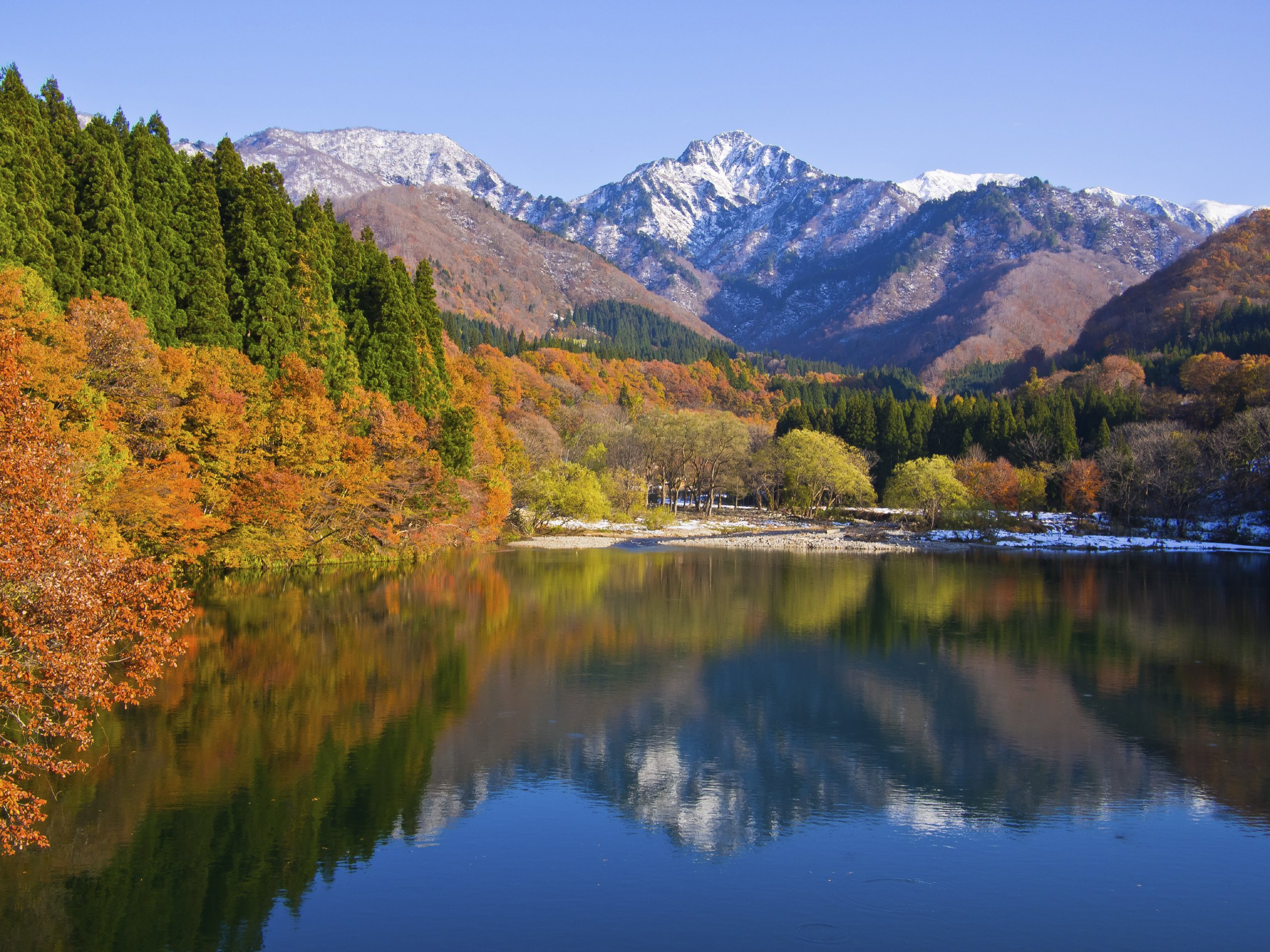 See the autumn leaves at Daigenta Lake in Niigata.