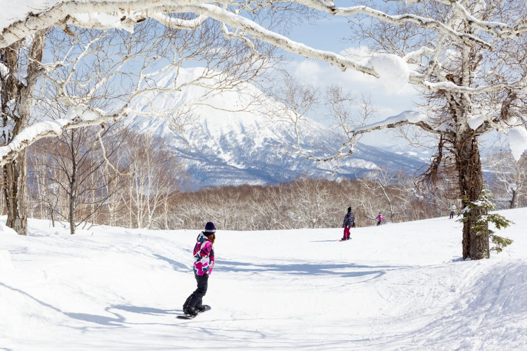 eneral view of people snowboarding on a tree-lined piste in the Niseko Grand Hirafu ski resort, Hokkaido, Japan. Mt Yotei can be seen in the background.