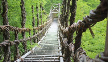 Kazura vine suspension bridge in Iya Valley, Shikoku, Japan