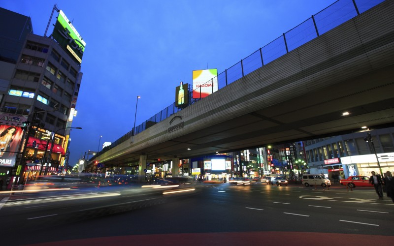 Night View of Roppongi crossing, Minato ward, Tokyo