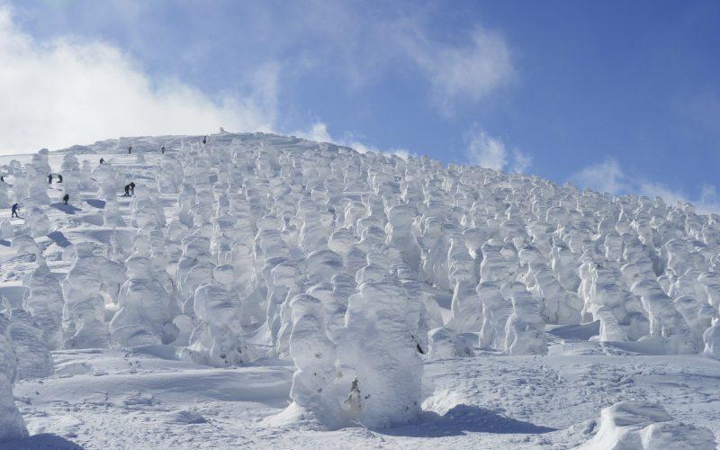 Carve through ice monsters at Zao ski resort.