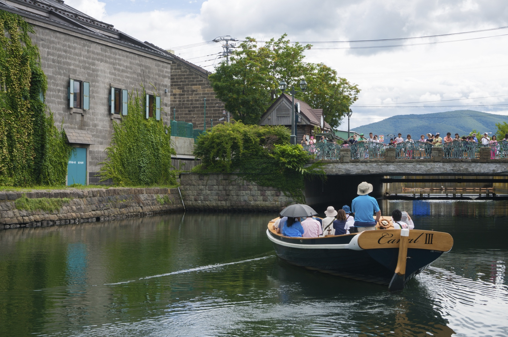 Canal boat cruise on Otaru Canal, Otaru, Japan.