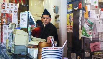 Nagasaki, Japan - November 14 2013: Remen restaurant in Nagasaki, Japan on November 14, 2013. Unidentified ramen shop keeper, specialize in Champon and Saru Udon, in Nagasaki's Chinatown