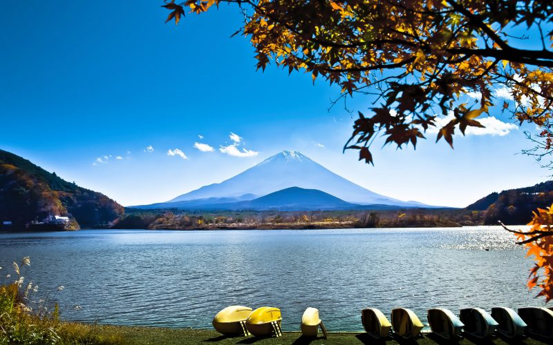 Japan landscape with Mount Fuji - Lake Shoji (Shojiko) and the famous volcano. Part of Fuji Five Lakes in Fuji-Hakone-Izu National Park