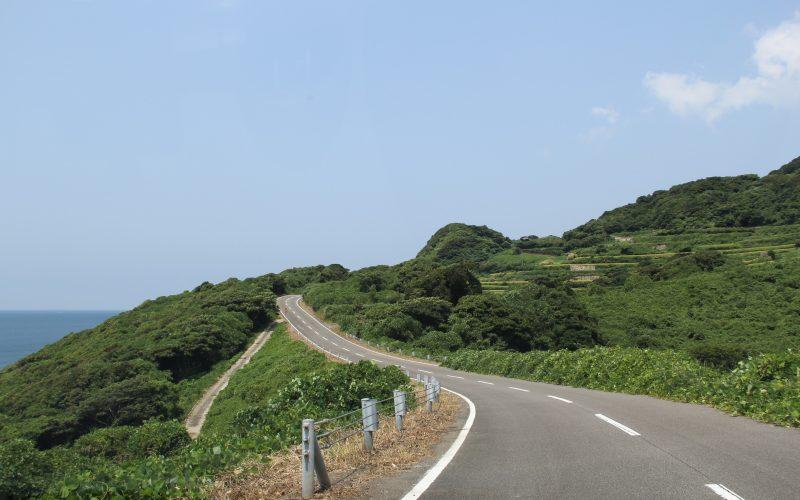 Green road along the Shimabara peninsula.