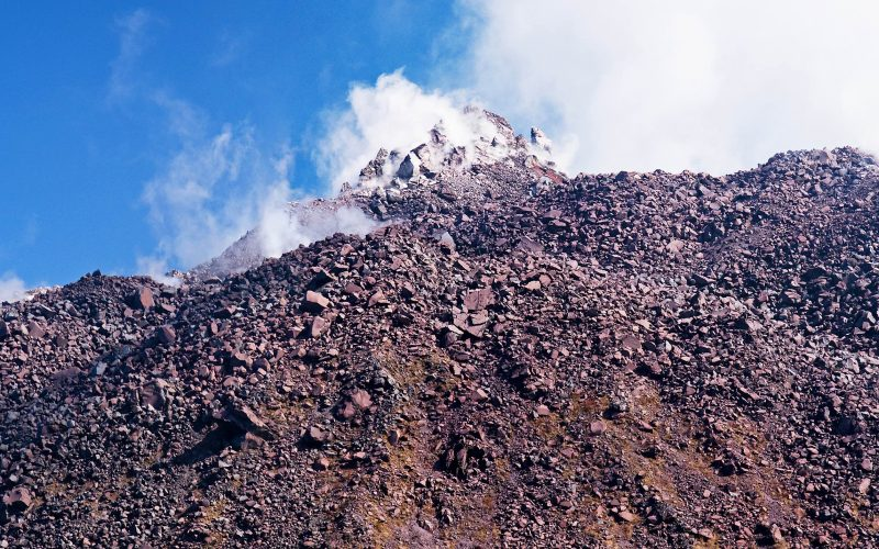 View of the volcanic summit in the Japanese resort Unzen