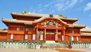 The Shuri Castle in Okinawa, Japan was a capital of Ryukyu kingdom.