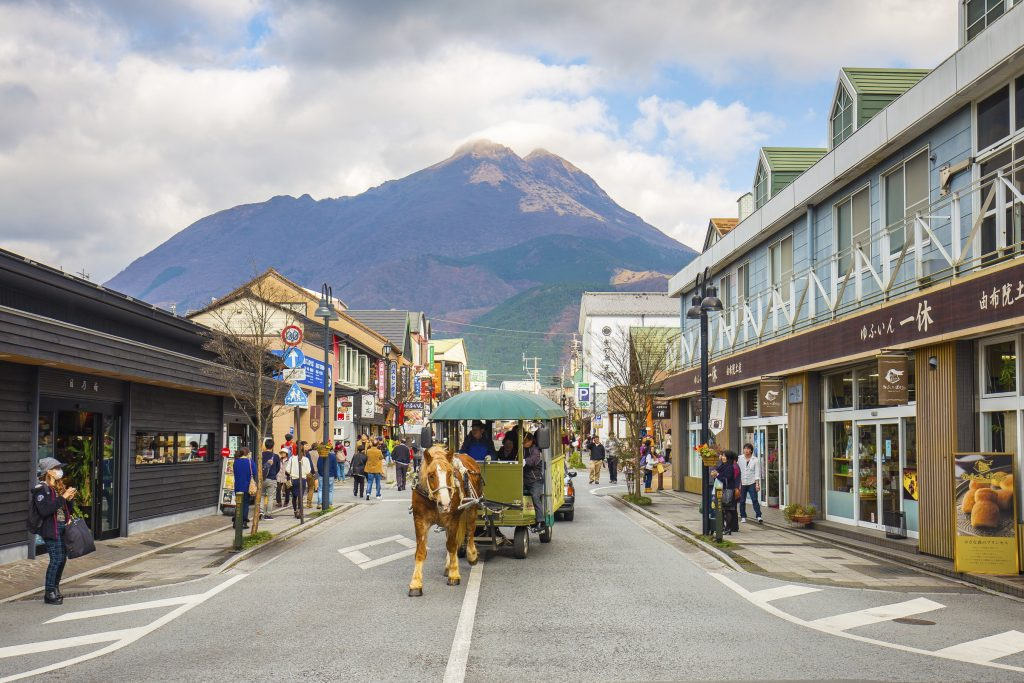 Oita, Japan - November 29, 2014: The main shopping street of Yufuin in Oita, Japan.