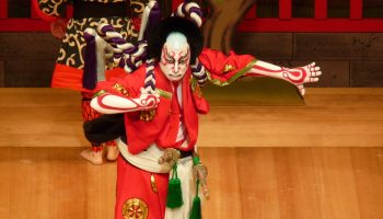 A Kabuki actor on stage. Go behind the scenes at Kaho Gekijou Theater in Iizuka, Fukuoka.