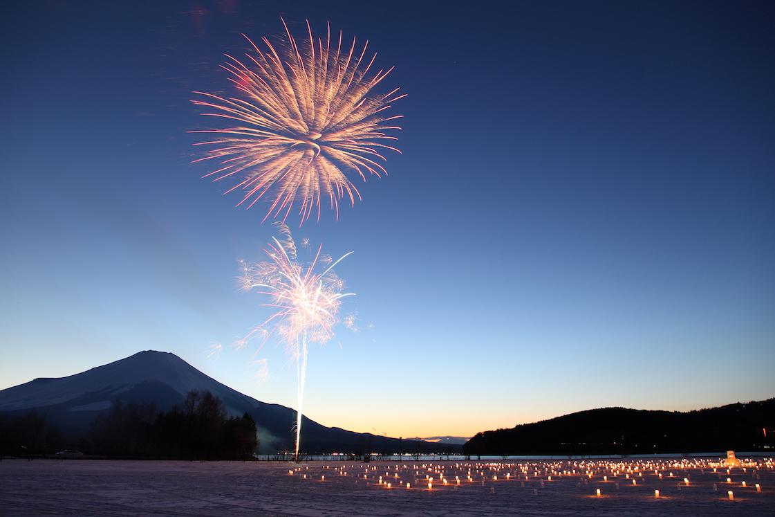 IIce Candle Illumination & fireworks in Yamanakako, JAPAN